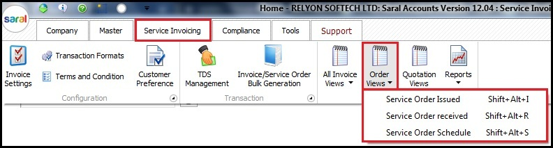 17.1.Service Invoicing in Saral-order views