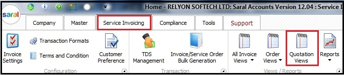 18.Service Invoicing in Saral-quotation views