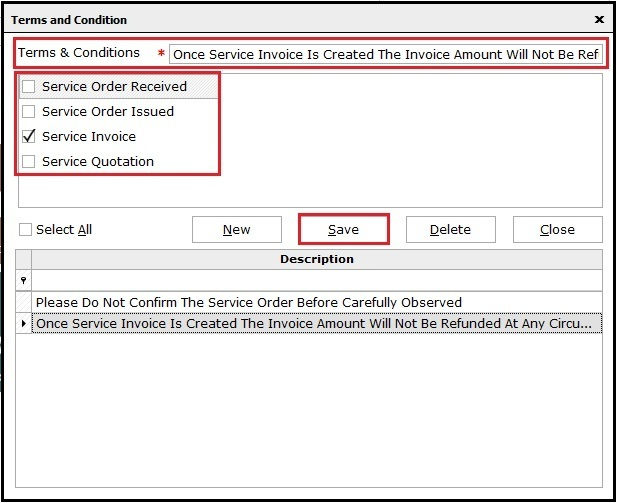 2.Service Invoicing in Saral-All option
