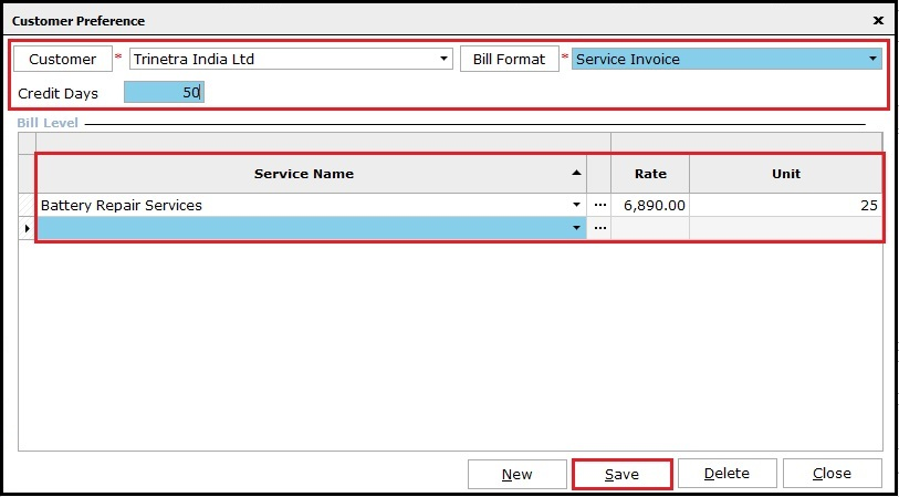 4.1.Service Invoicing in Saral-Rate and units.