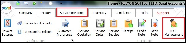 5.Service Invoicing in Saral-TDS management.