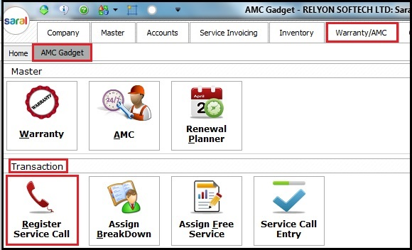 5.AMC and Warranty in Saral-Service call