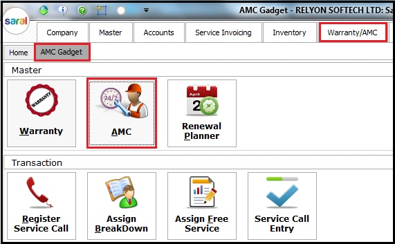 1.1, AMC and Warranty in Saral - card