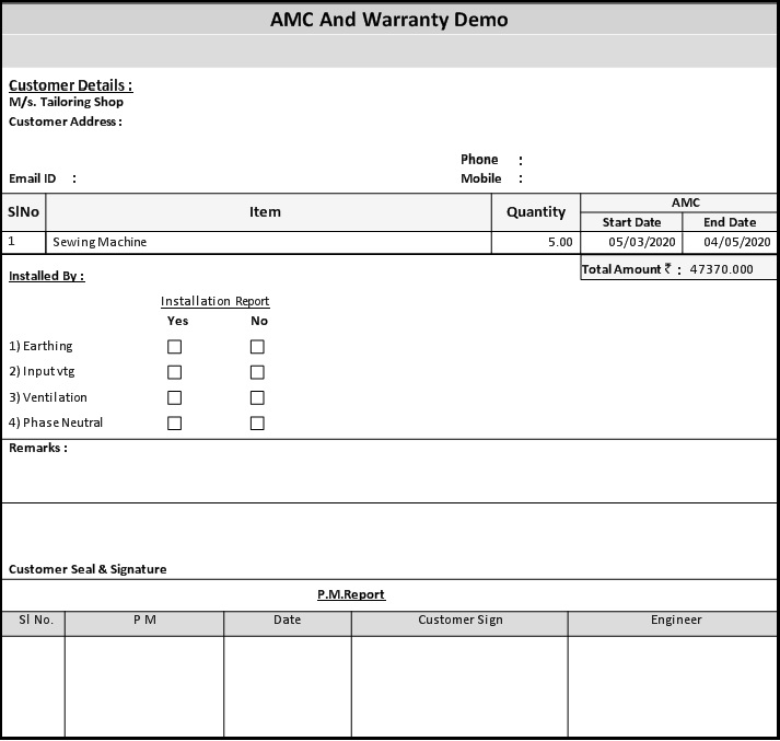 3.1. AMC and Warranty in Saral - save