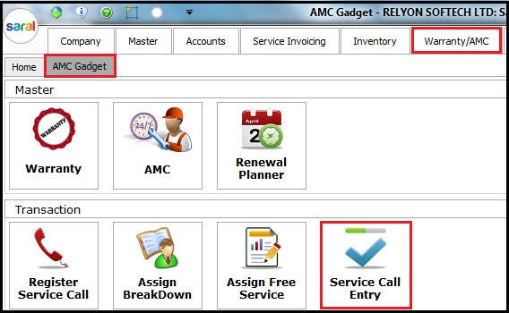 5.1. AMC and Warranty in Saral-call entry