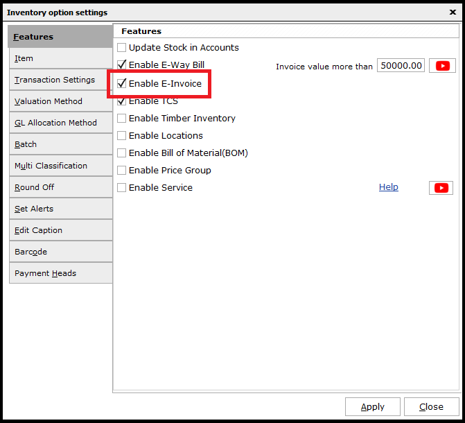 5. E-invoicing-inventory settings