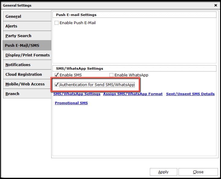 10.SMS configuration-enable authentication