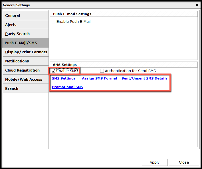 2.SMS configuration-enable sms