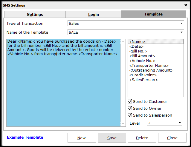 7.SMS configuration-sms template