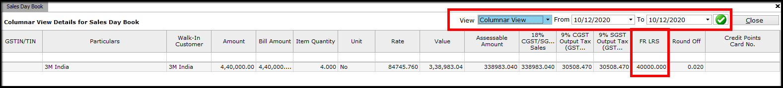 16.TCS management - view tcs amount
