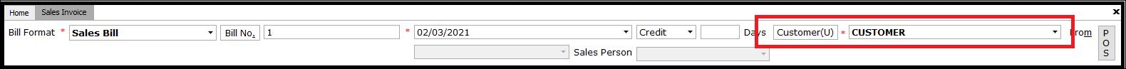 Sales invoice customer